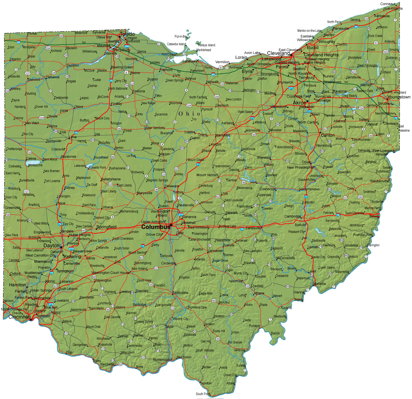 Detailed Ohio Map - OH Terrain Map