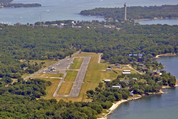 aerial view of put-in-bay airport on South Bass Island
